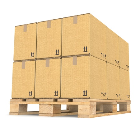 ship package: Perspective view of Cardboard boxes on a Pallet. Part of Warehouse series.