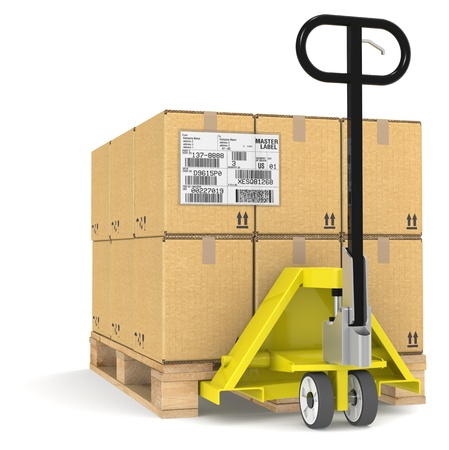 Pallet TruckJack and a Pallet With Cardboard Boxes. Sample EDI Label photo
