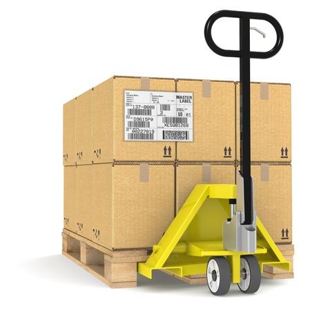 palet: Transpaletas  Jack y un palet con cajas de cartón. Ejemplo de una etiqueta de EDI Foto de archivo