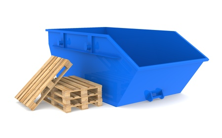 skip: Blue Skip with a pile of pallets. Stock Photo