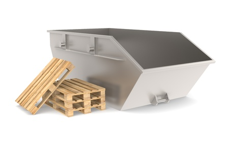 storage bin: Steel Skip with a pile of pallets. Part of warehouse and logistics series.