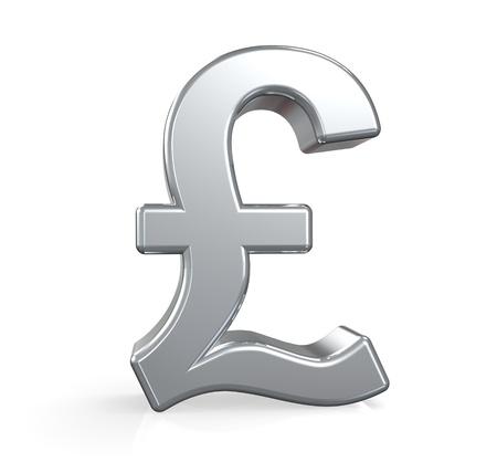 symbol british: 3D British Pound symbol. Silver. Ground reflection