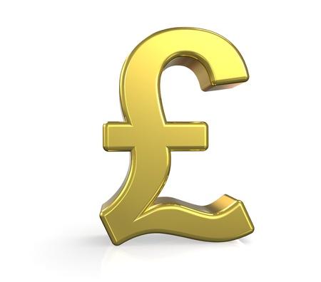 esterlino:  3D British Pound symbol. Gold. Ground reflection   Banco de Imagens