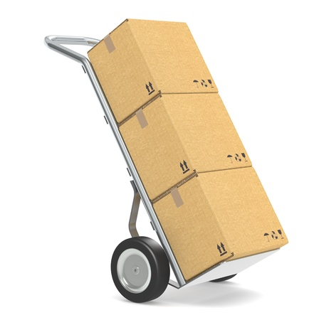 Hand truck with cardboard boxes. Part of warehouse and logistics series. photo