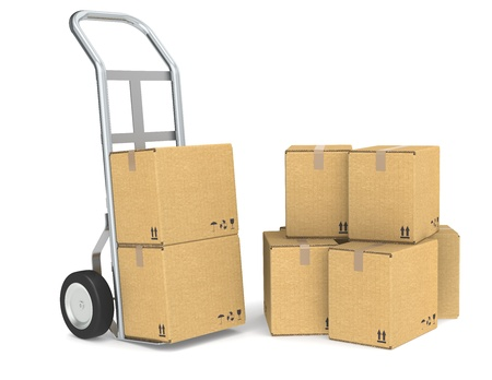 Hand truck with a Pile of cardboard boxes. Part of warehouse and logistics series. photo