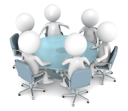 round table: 3D little human characters X6 discussing at a round table. Business People series.