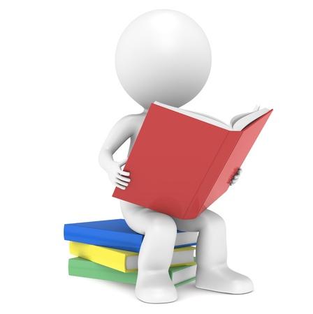 personnage: 3D petit personnage humain assis sur un tas de livres, la lecture. Les gens de la s�rie. Banque d'images