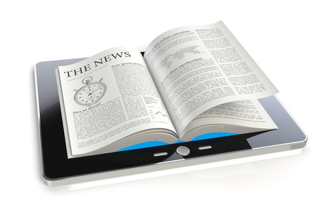A tablet pad computer with a The News photo