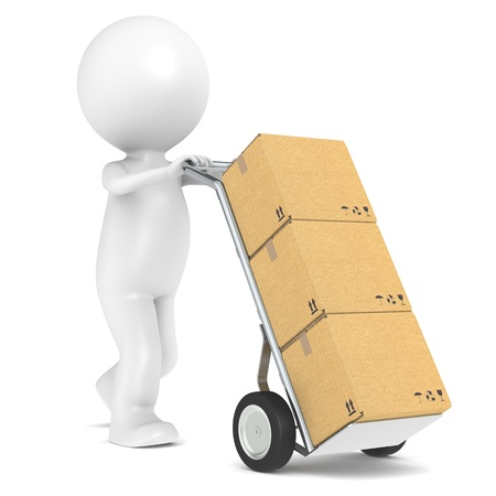 dolly: 3D little human character with a Hand Truck and Cardboard Boxes. People series. Stock Photo