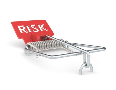 investing risk: Abstract Mouse Trap with Red Risk Sign.