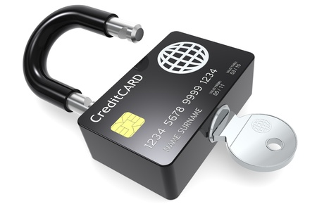 secure payment: Credit Card made like a Padlock.