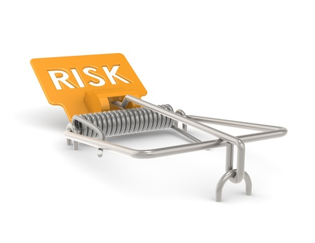 Abstract Mouse Trap with Orange Risk Sign. photo