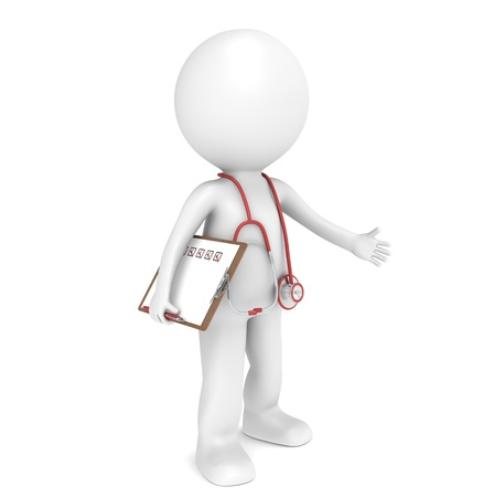 health check: 3D little human character The Doctor. Red theme. People series.