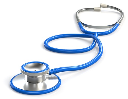 diagnostic tool: Blue Stethoscope. White Background.