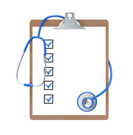 Clipboard with Checkmarks and a Stethoscope. Blue and steel. Isolated. photo