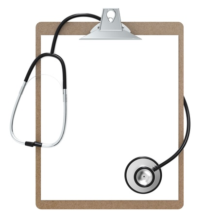 The Classic Clipboard and Stethoscope. Black and steel. Isolated. photo