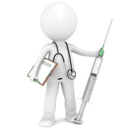 zastrzyk: 3D trochę ludzkiego charakteru Lekarz z strzykawki. Ludzie serii.