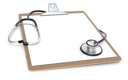 The Classic Clipboard and Stethoscope. Perspective view. photo