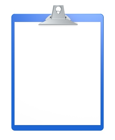 Blue clipboard with blank paper for copy space. photo