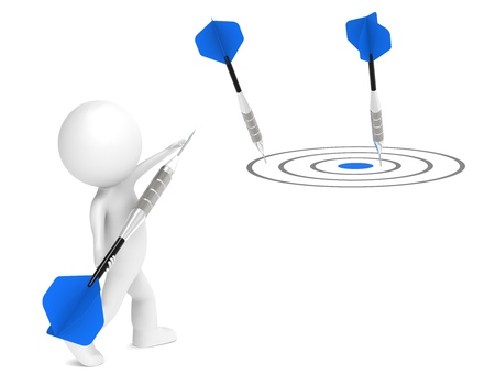 3D little human character aiming for Goal. Blue arrows. People series. photo