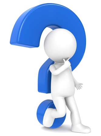 exclamation: 3d human character leaning against a Blue question mark  Stock Photo