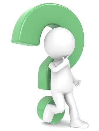 signo de admiracion: Car�cter humano 3d apoyado en un signo de interrogaci�n verde Foto de archivo
