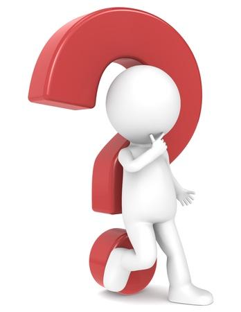 Fragezeichen: 3D-menschlichen Charakter gelehnt einem roten Fragezeichen