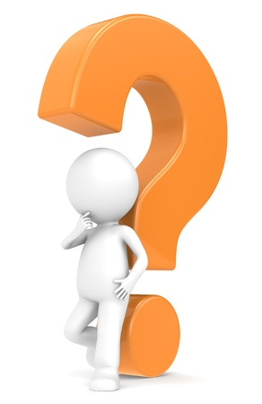 3d human character with a Orange question mark Stock Photo - 12356739