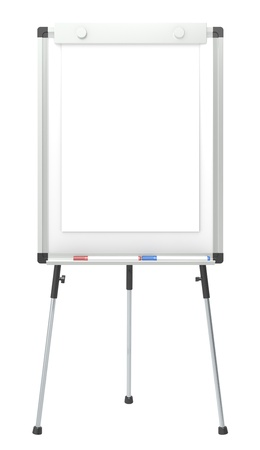 Flip Chart and 2 marker pens. White for copy space. Isolated. photo