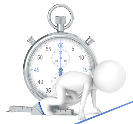 chronometer: 3D little human character The Athlete on the start line. Stopwatch Blue Theme color. People series.
