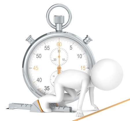 performances: 3D little human character The Athlete on the start line. Stopwatch Orange Theme color. People series.