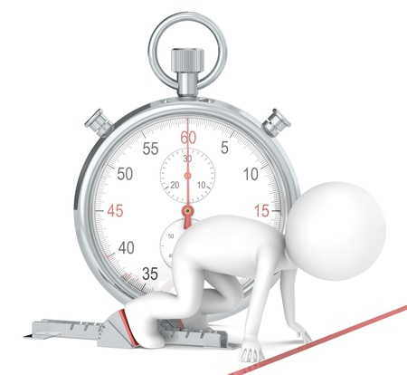 start business: 3D little human character The Athlete on the start line. Stopwatch Red Theme color. People series.