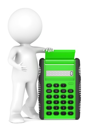 calculations: 3d little human character with a Green Calculator. Semi transparent plastic. People series.