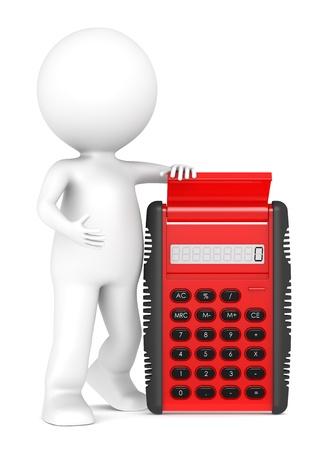 perdidas y ganancias: 3d pequeño personaje humano con una calculadora Roja. De plástico transparente semi. La gente de la serie.