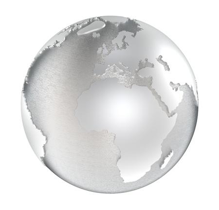 acier bross�?: La Terre en acier. domaines de l'eau et de la terre acier bross� poli. Isol�. Banque d'images