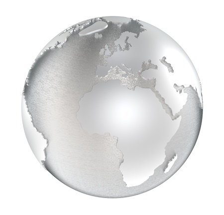 The Earth made of steel. Water areas brushed steel and land polished. Isolated. Stock Photo - 12356947