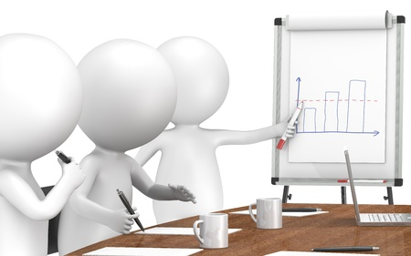 flip chart: 3D little human characters X3 during a Presentation on a Flip Chart. Business People series: Classic