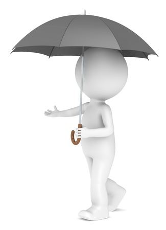 3D little human character with an Umbrella  People series  photo