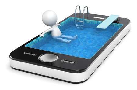 3d swimming pool: 3D little human character Ralaxing in a Smart Phone made like a Pool