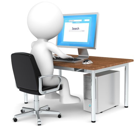 3D little human character Searching on Internet Blue Screen Business People series Classic