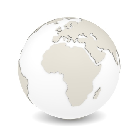 continents: The Earth rotation view 2  The Earth on white background  Sparse design  Stock Photo