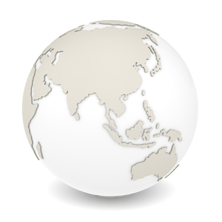 The Earth rotation view 1  The Earth on white background  Sparse design  Stock Photo - 12703344