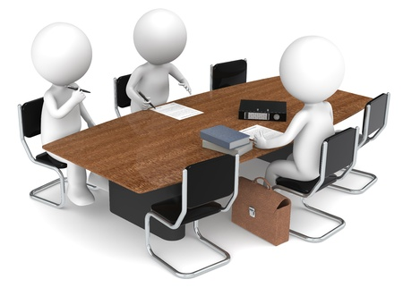 3D little human characters X3 signing papers. Business People series: Classic. Stock Photo - 12703342