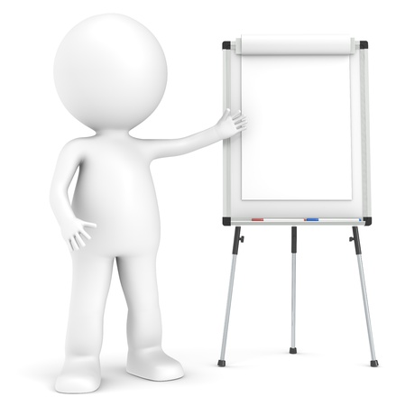 3D little human character with a blank Flip Chart and whiteboard. photo