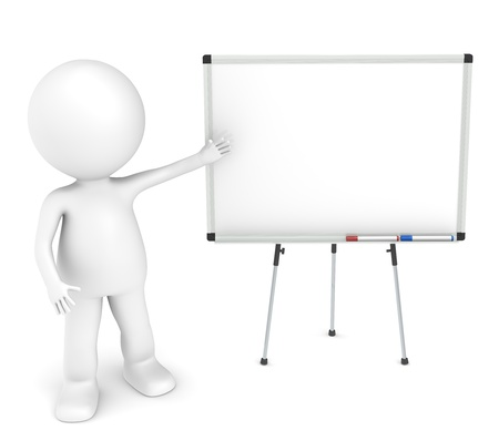 supporting: 3D little human character with a blank whiteboard and 2 pens. Stock Photo