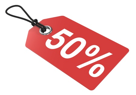 sale off: Red price tag, isolated.