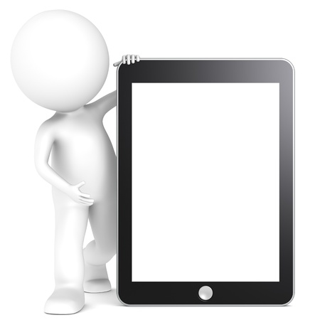 3D little human character with a Tablet Pad. Blank Screen for copy space. People series. Stock Photo - 12703570