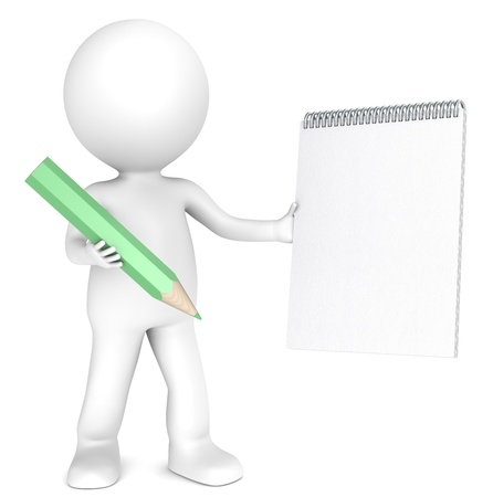 3d small person: 3D little human character holding a Blank notepad and a Green Pencil. Textured Paper. Copy Space. People series. Stock Photo