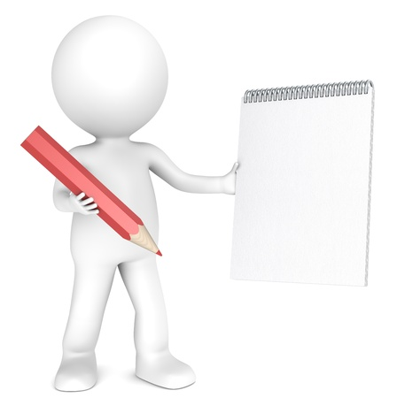 note pad and pen: 3D little human character holding a Blank Notepad and a Red Pencil. Textured Paper. Copy Space. People series.