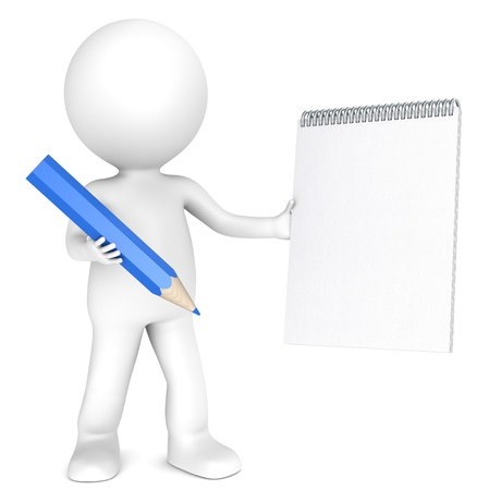 3D little human character holding a Blank notepad and a Blue Pencil. Textured Paper. Copy Space. People series. photo
